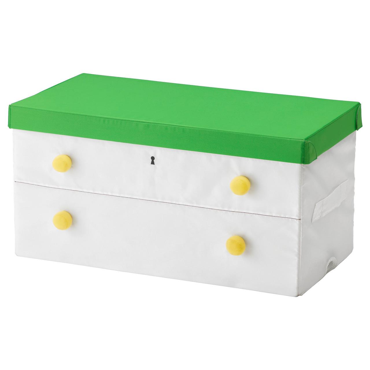 IKEA FLYTTBAR (603.288.44) Коробка с крышкой, зеленая, белая