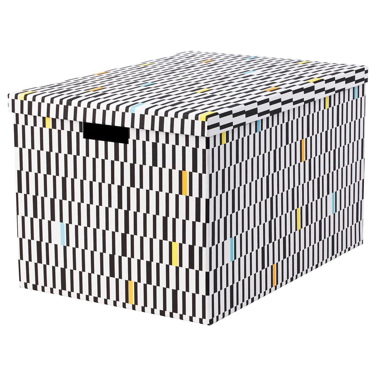 IKEA TJENA (303.745.21) Коробка с крышкой, черный/белый