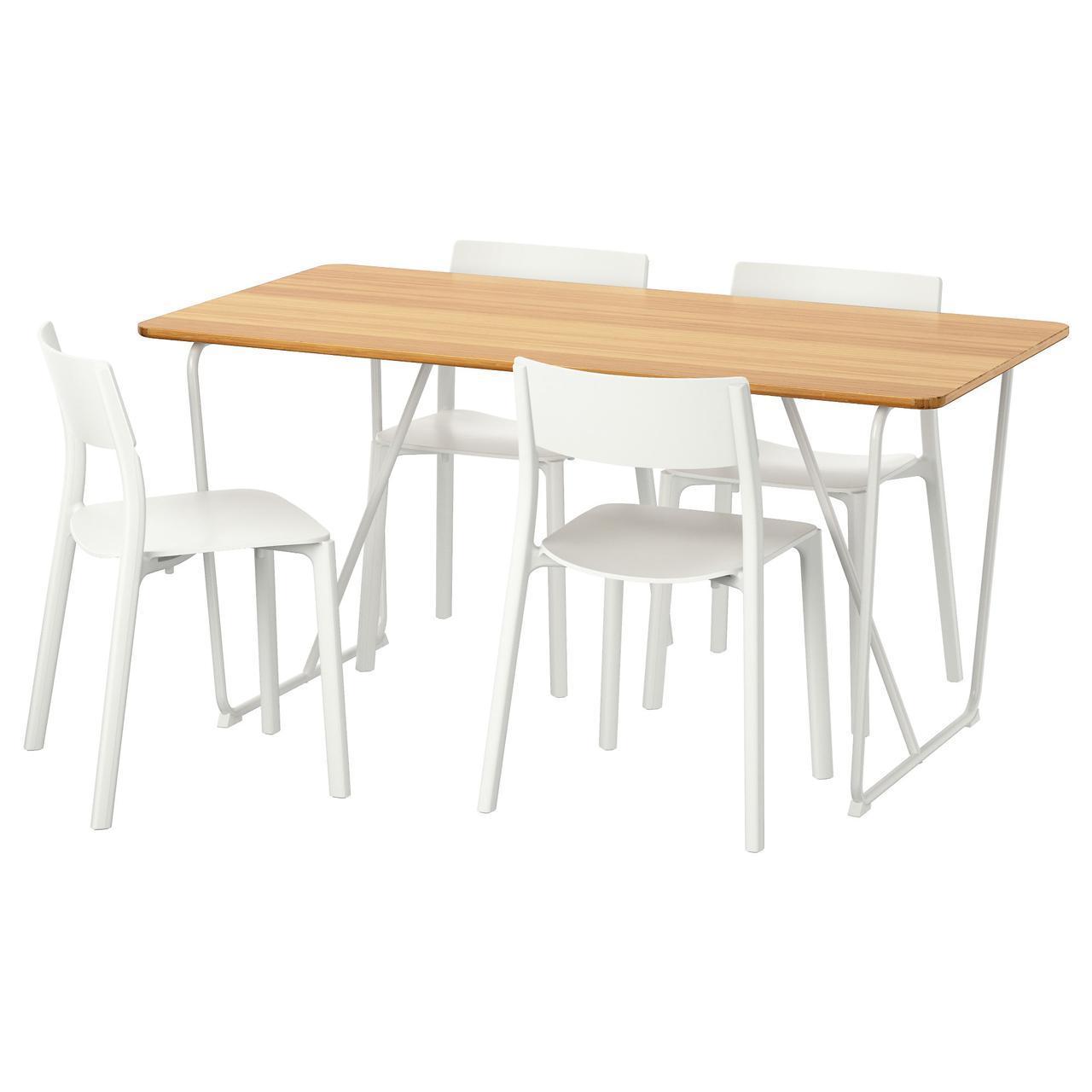 IKEA OVRARYD / JANINGE (791.615.75) Стол и 4 стула бамбук