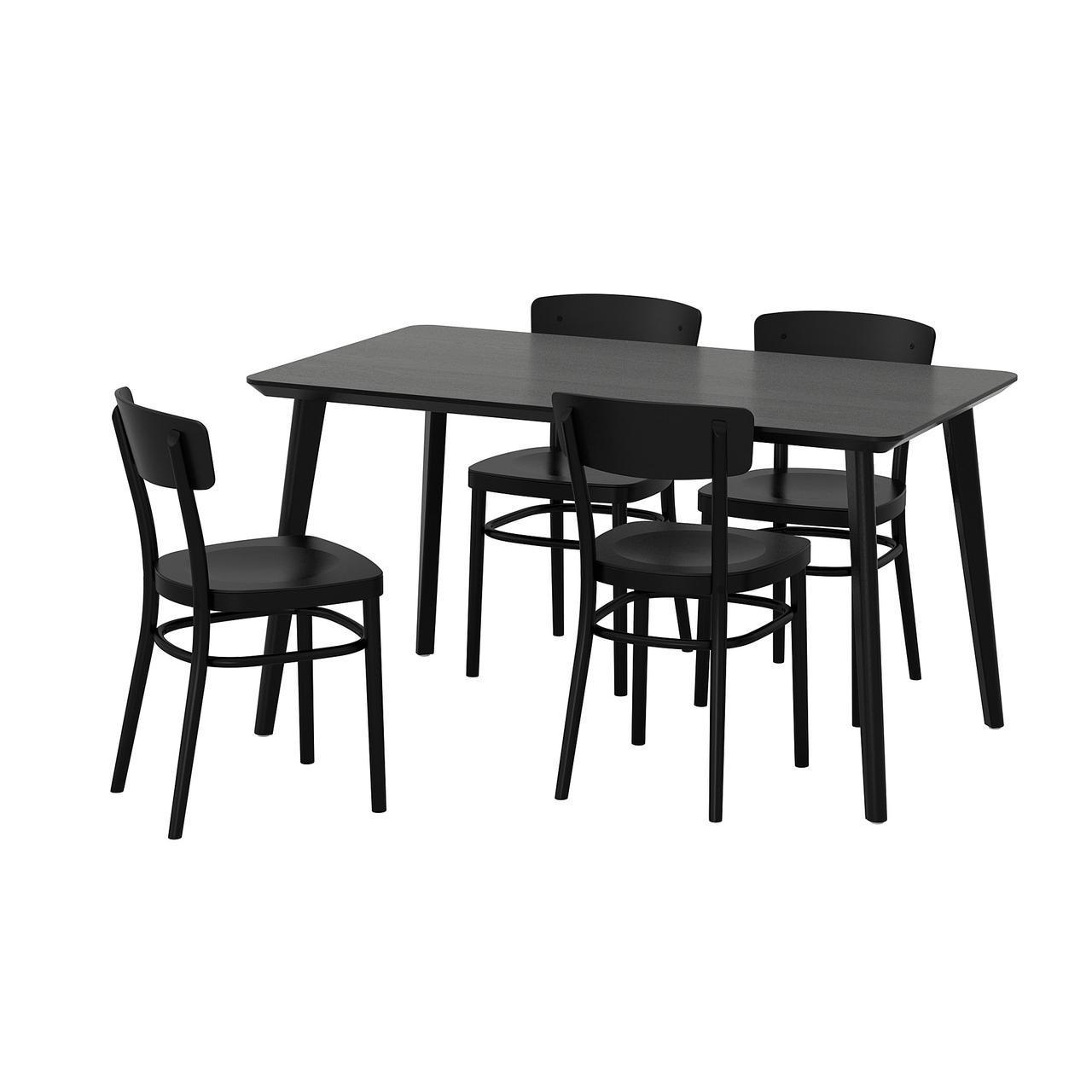 IKEA LISABO / IDOLF (192.521.87) Стол и 4 стула, черный, черный