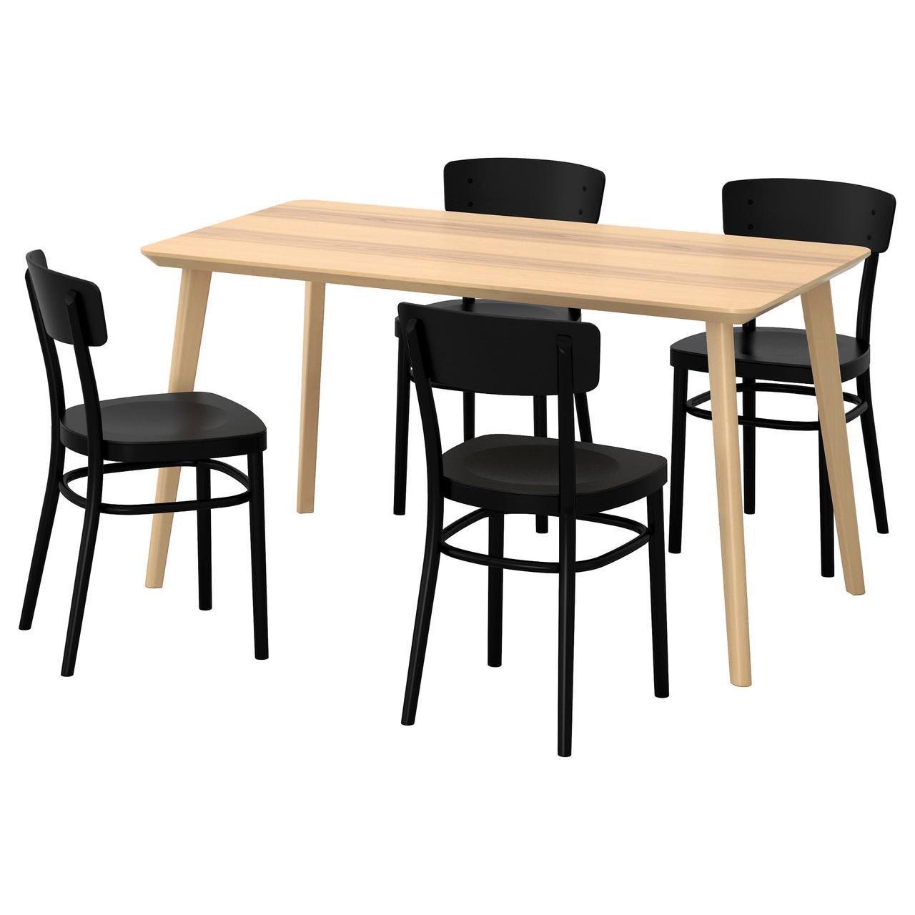 IKEA LISABO / IDOLF (991.614.85) Стол и 4 стула, ясень шпон, черный