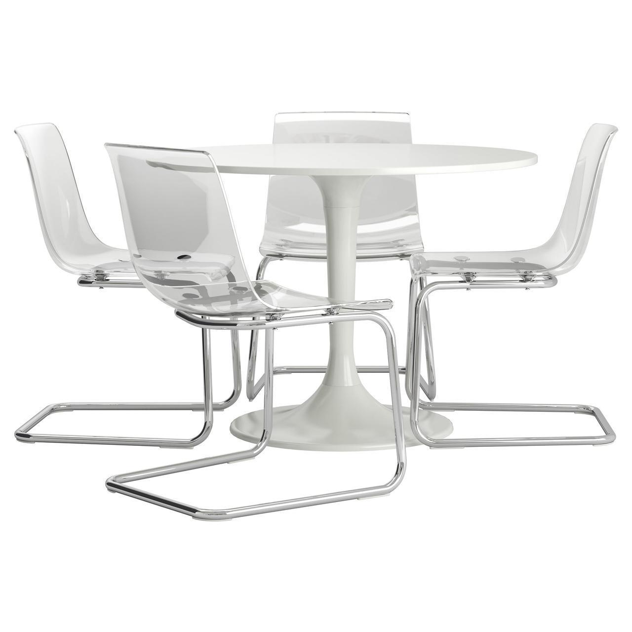 IKEA DOCKSTA / TOBIAS (992.298.00) Стол и 4 стула, прозрачный