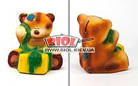 """Копилка керамическая (h-15м) """"Мишка с подарком"""" флок (цвет - рыжий)"""