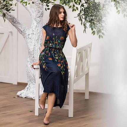 Женское льняное платье вышиванка Клер синяя, фото 2