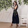 Женское льняное платье вышиванка Клер синяя, фото 4