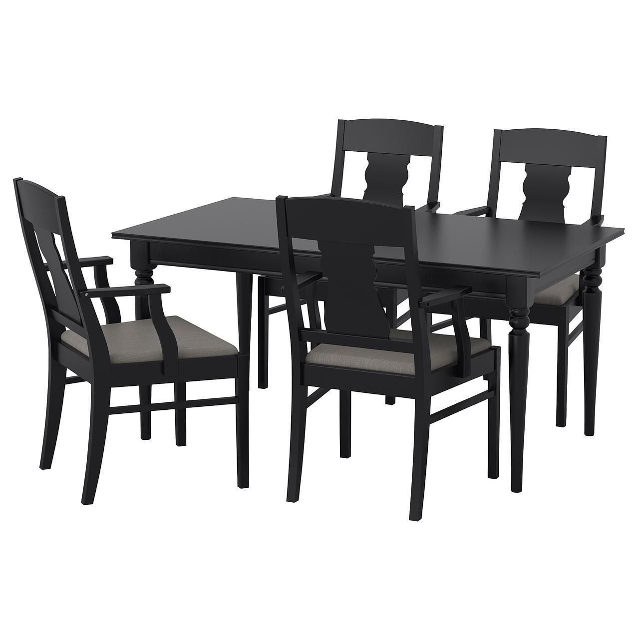 IKEA INGATORP / INGATORP (092.407.79) Стол и 4 стула, черный