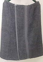 Парео махровое мужское банное (серое) 70*140