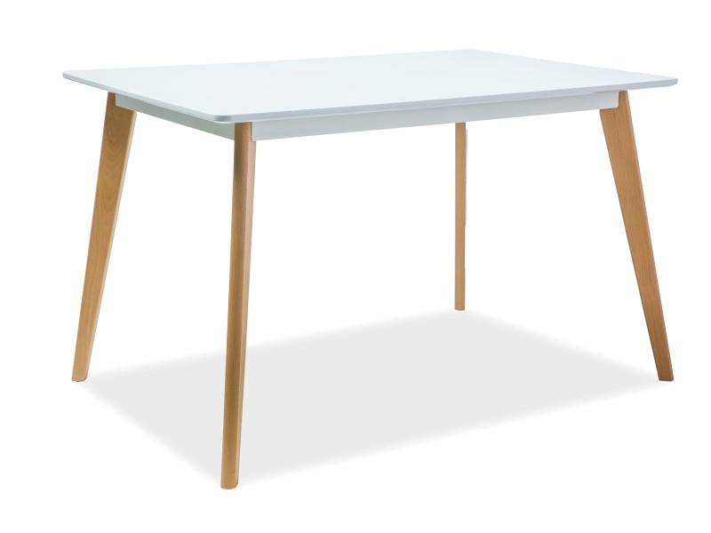 Стол деревянный кухонный обеденный на кухню столовый белый бук DECLAN I 120x80 (Signal)