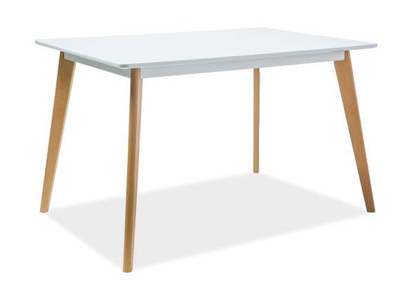 Стол деревянный кухонный обеденный на кухню столовый белый бук DECLAN I 120x80 (Signal), фото 2