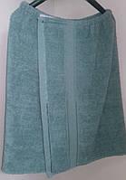 Парео махровое мужское банное (зеленое) 70*140