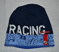 Демисезонная шапка для мальчика Racing темно-синяя (AJS, Польша)
