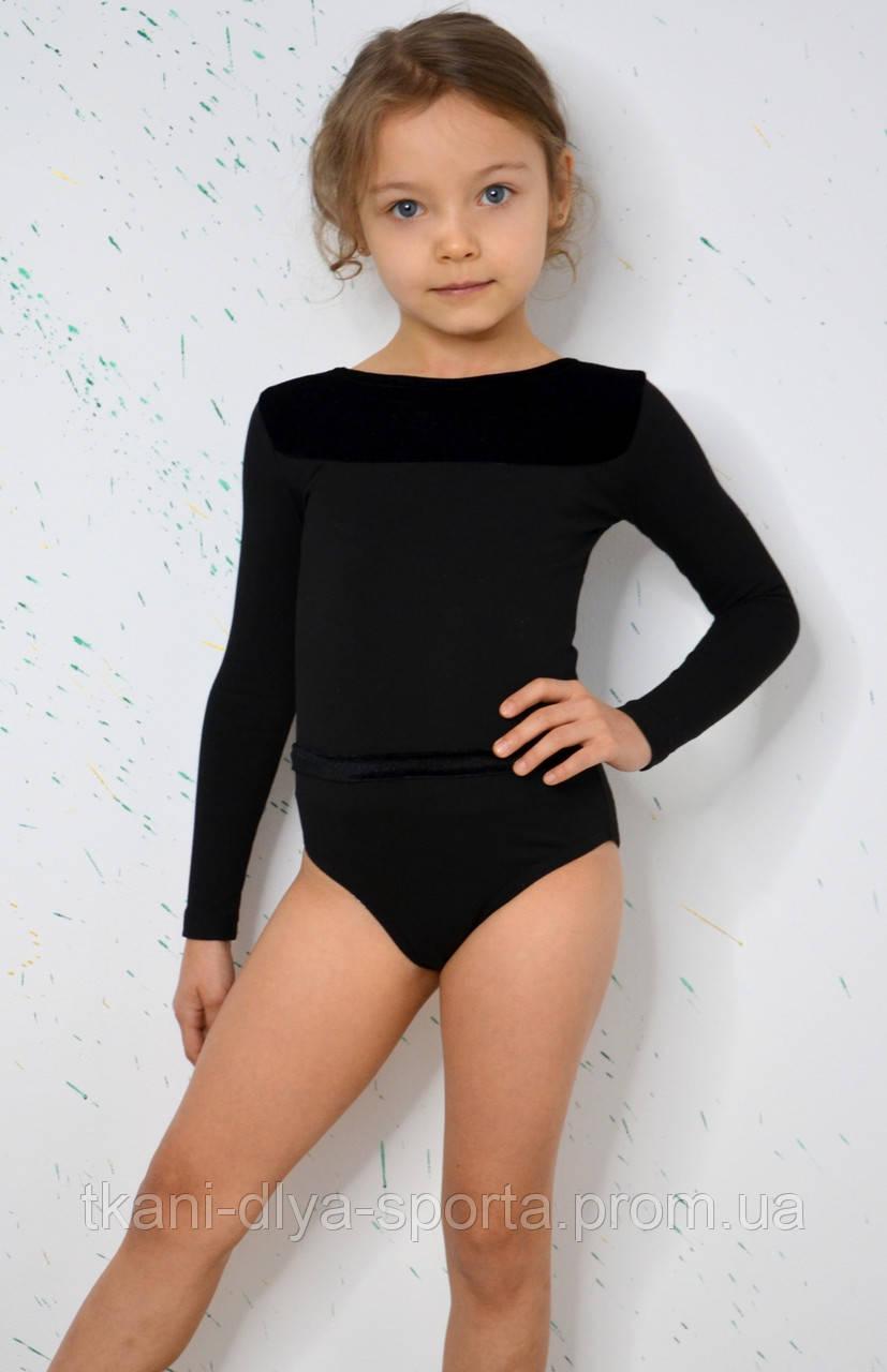 Купальник для танцев и гимнастики черный с длинным рукавом и отделкой из бархата