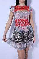Платье женское кружевные вставки красное 2582