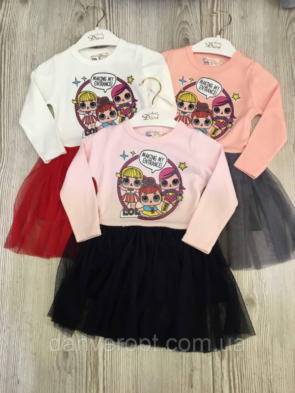 a5e4b5502d6c Платье детское стильное модный принт Лол на девочку 1-4 года, купить оптом  со