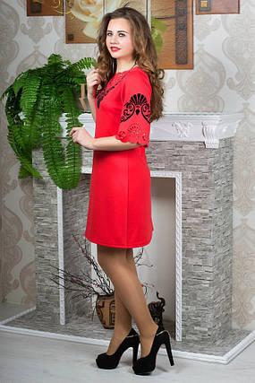 Женское молодежное платья свободного покроя рукав 3/4 до 52 размера цвет коралл, фото 2