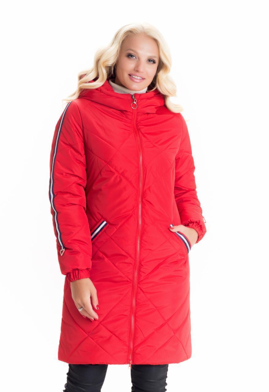 Удлиненная куртка женская демисезонная с капюшоном    42-58 красный