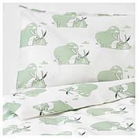 IKEA BUSSIG (703.654.40) Набор детских постельных принадлежностей, зеленый