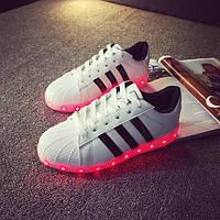 Белые светящиеся LED кроссовки с подсветкой, [ 38 39 40 41 42 43]