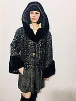 Плащ-пальто женское кожаное с мехом