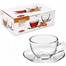 Чашка с блюдцем чайная 6 шт Бейсик