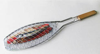 Барбекю нержавейка с деревянной ручкой Рыбка 66*14 см