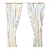 IKEA LATTJO (603.578.03) Шторы с креплением, 2 шт., Полоски, разноцветные