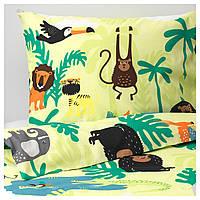 IKEA DJUNGELSKOG (203.935.20) Комплект постельного белья, животных, зеленый