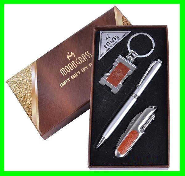Подарочный Набор 3 в 1 (нож, ручка, брелок Герб Украины)