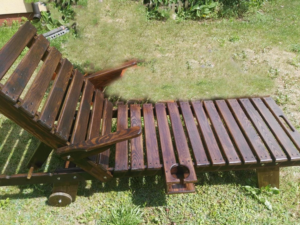 Деревянный садовый шезлонг 200х60 см