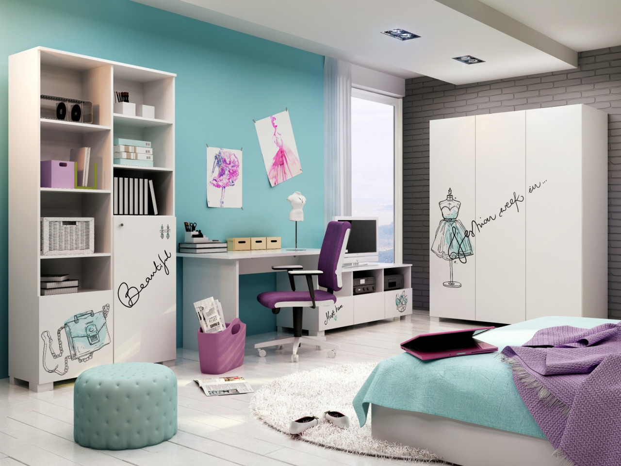 """Комплект мебели для девочки """"Fashion Mint"""", Meblik (Польша)"""