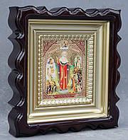 Киот для репродукции фигурный,с внутренней деревянной рамой покрытой краской под золото