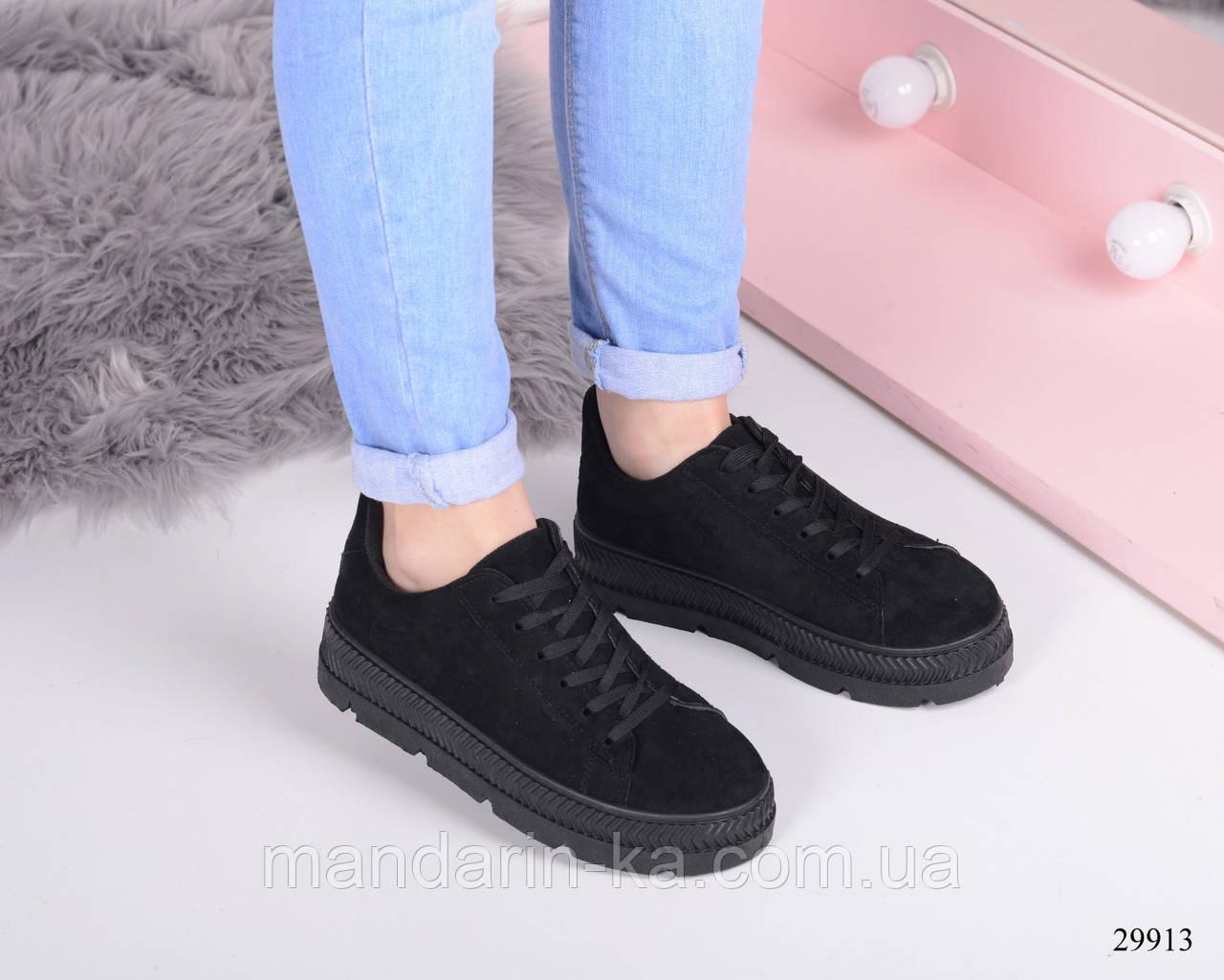 Женские  кроссовки  черные на толстой подошве