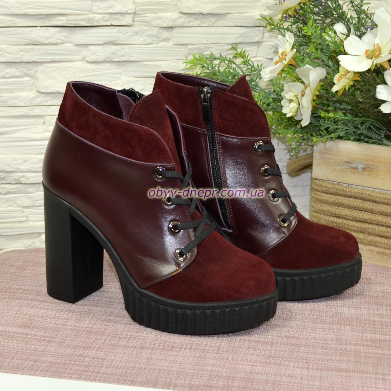 Ботинки демисезонные женские на высоком каблуке, натуральная замша и кожа бордового цвета