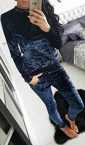 Ультрамодный велюровый женский спортивный костюм Л-ка темно синий