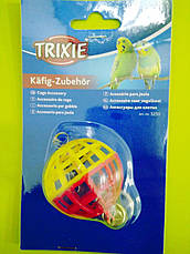 Игрушка для птиц Trixie Мяч пластмассовый с колокольчиком 7 см 5250, фото 3