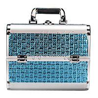 """Профессиональный алюминиевый кейс для косметики """"Exclusive Series"""", квадрат синий"""
