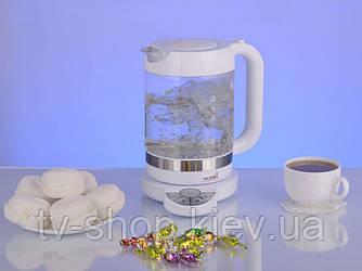 Чайник с термодатчиком стеклянный  Hilton 9222 (1,5л)