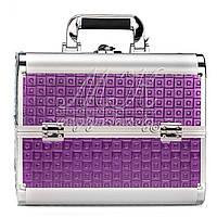 """Профессиональный алюминиевый кейс для косметики """"Exclusive Series"""", квадрат фиолетовый"""