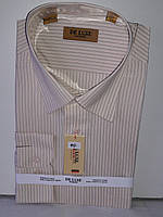 Рубашка мужская De Luxe vd-0040 бежевая в полоску классическая с длинным рукавом