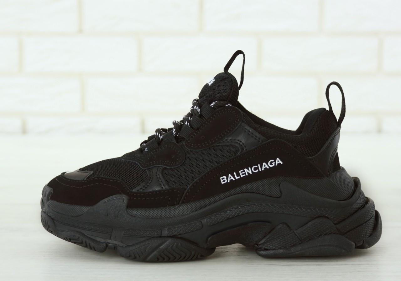 Кроссовки женские Balenciaga Triple S баленсиага черные. Многослойная подошва.. ТОП Реплика ААА класса.