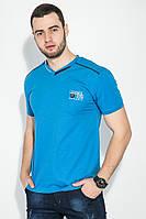 Футболка мужская с надписью на груди 81P2096 (Темно-голубой)