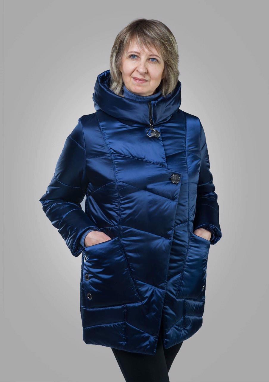 Удлиненная куртка женская демисезонная батал 50-60 атлас