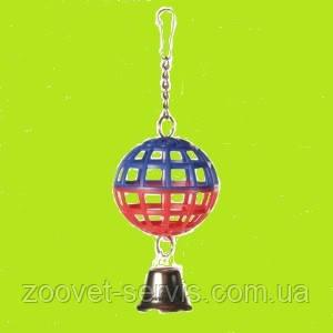 Игрушка для птиц Trixie Мяч пластмассовый с колокольчиком 7 см 5250, фото 2