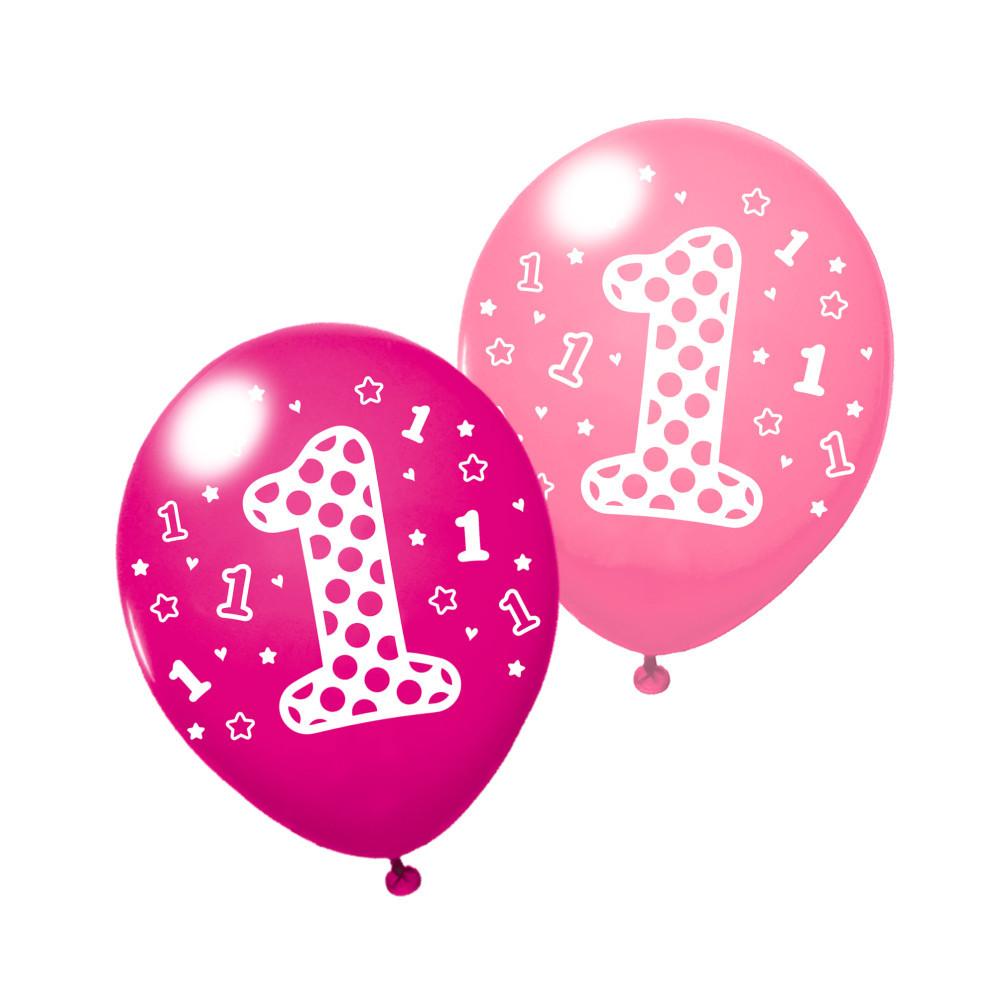 """Воздушные шары Susy Card 3шт 25см """"1"""" розовые, сиреневые"""