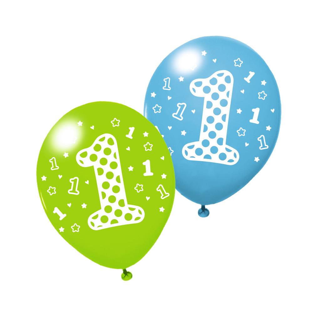"""Воздушные шары Susy Card 3шт 25см """"1"""" голубые, салатовые"""