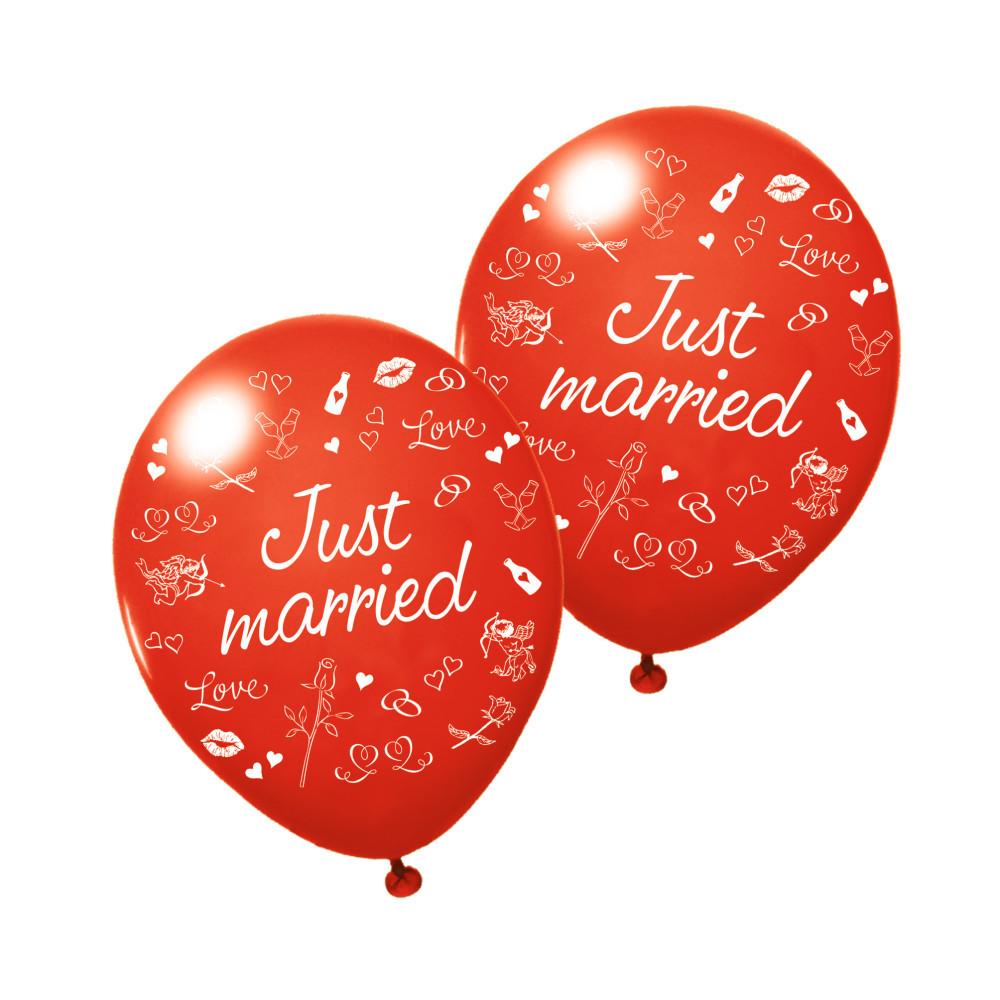 Воздушные шары Susy Card 3шт 25см Just Married свадебные красные