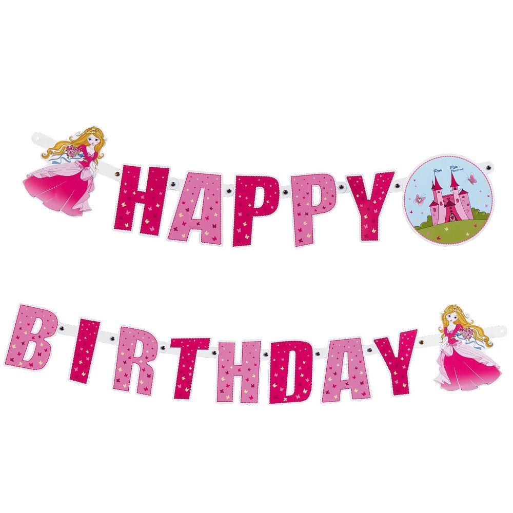 Гирлянда-надпись Susy Card Happy Birthday Princess 2м 16см розовая