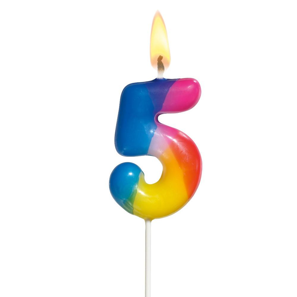 "Свечка-цифра для торта Susy Card 5см ""5"" разноцветная на шпажке"
