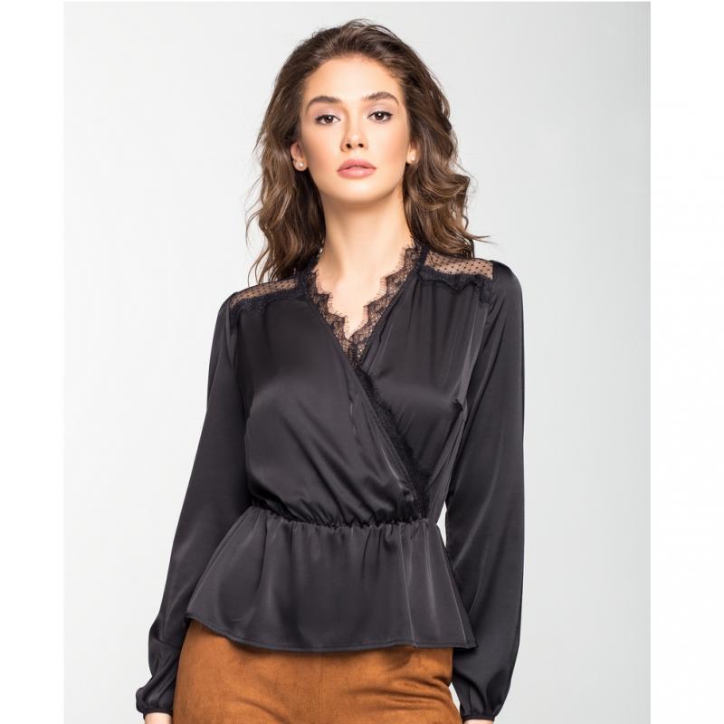 8300a730812 Женская шёлковая блуза на запах чёрная белая  продажа