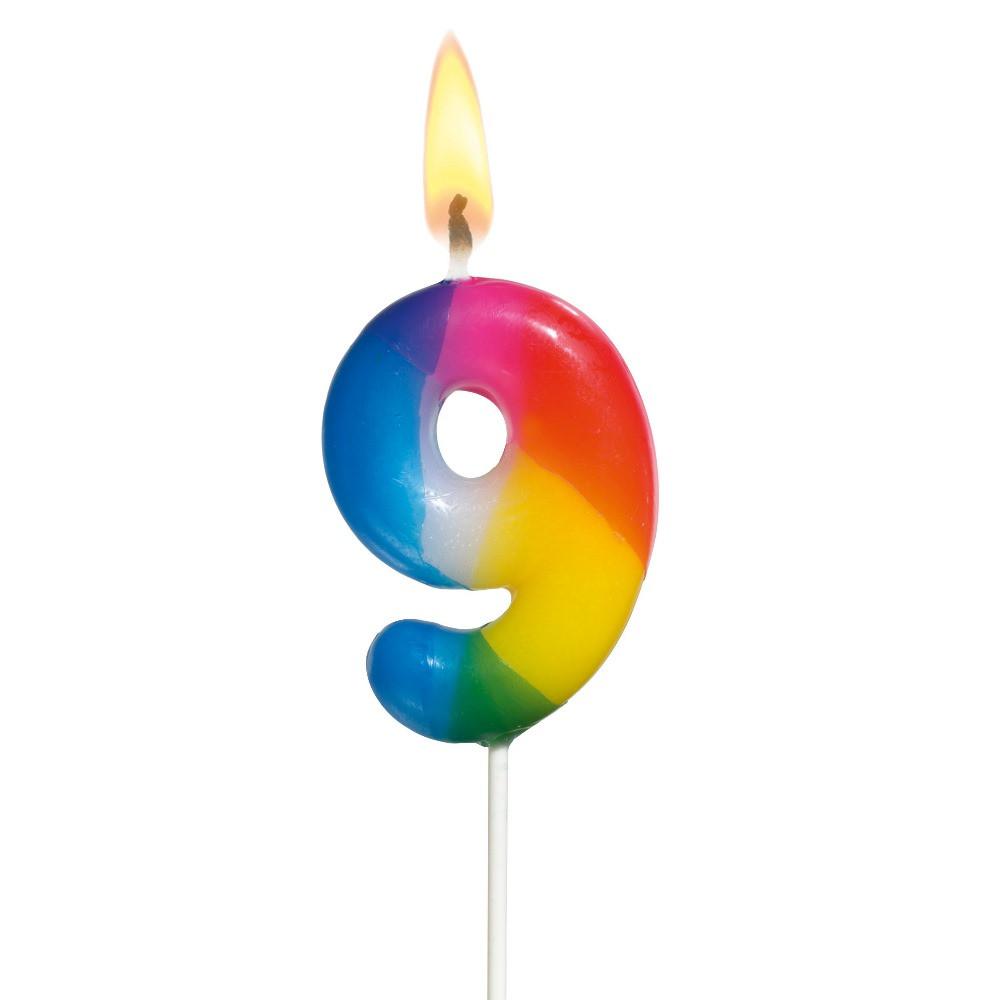 "Свечка-цифра для торта Susy Card 5см ""9"" разноцветная на шпажке"